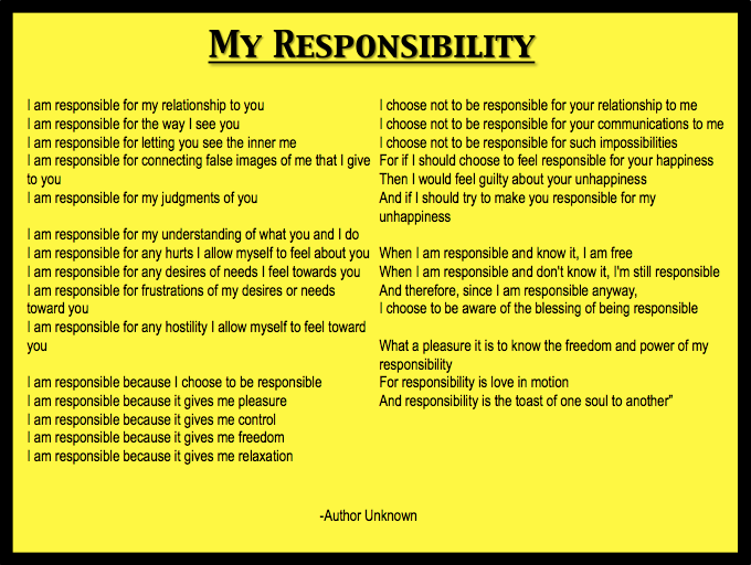 Definitions of personal responsibility essay