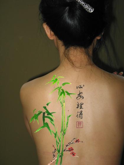 chinese calligraphy tattoo bamboo tattoo stamp tattoo - 420×560