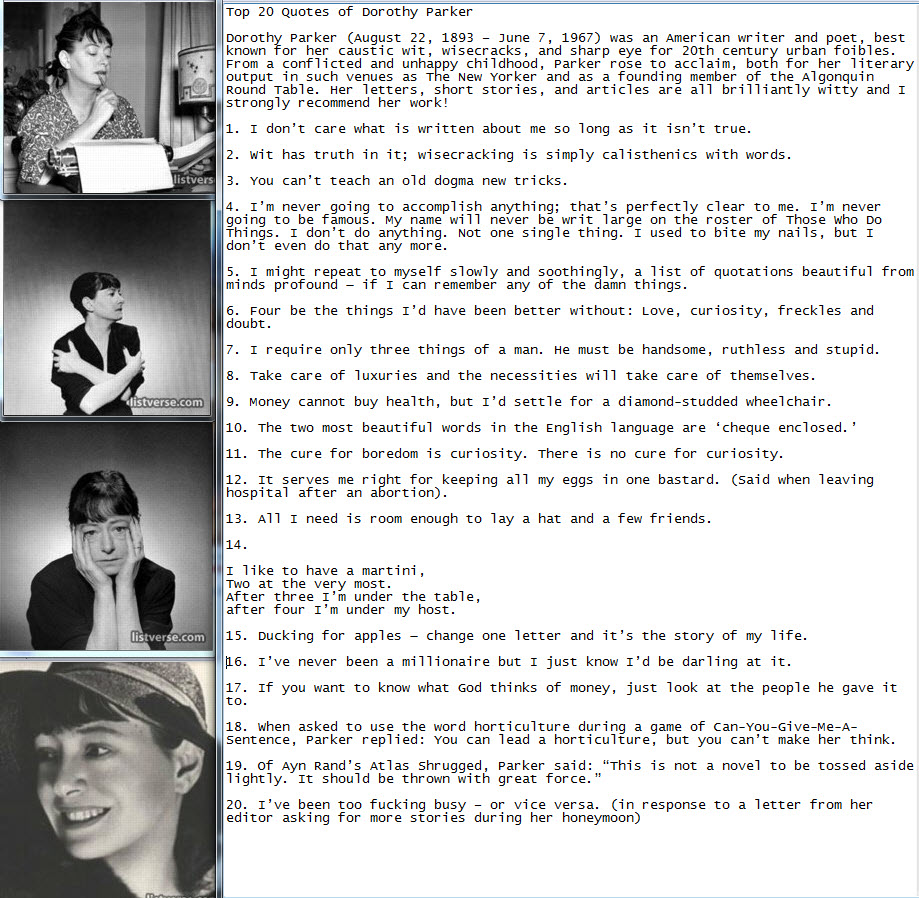An overview of the novel enough rope by dorothy parker Homework ...