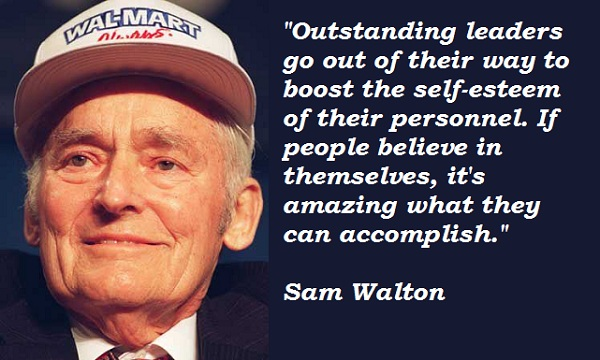 the leadership skills of sam walton By setting standards, sam walton achieved many goals, which other companies will struggle to attain by researching sam walton,i have learned many leadership skills, which will help me achieve my goals and dreams samuel walton was not only king of department stores, he wanted to create a better lifestyle for all.