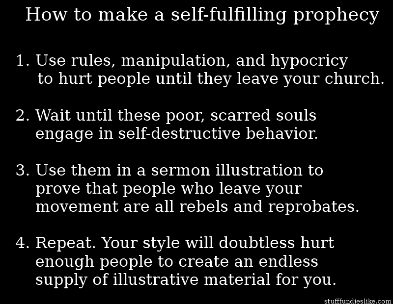 self fulfilling prophecy A self fulfilling prophecy is a prediction that comes true because characters act on it believing it to be true therefore, the actions that the characters take after hearing the prediction directly cause it to.