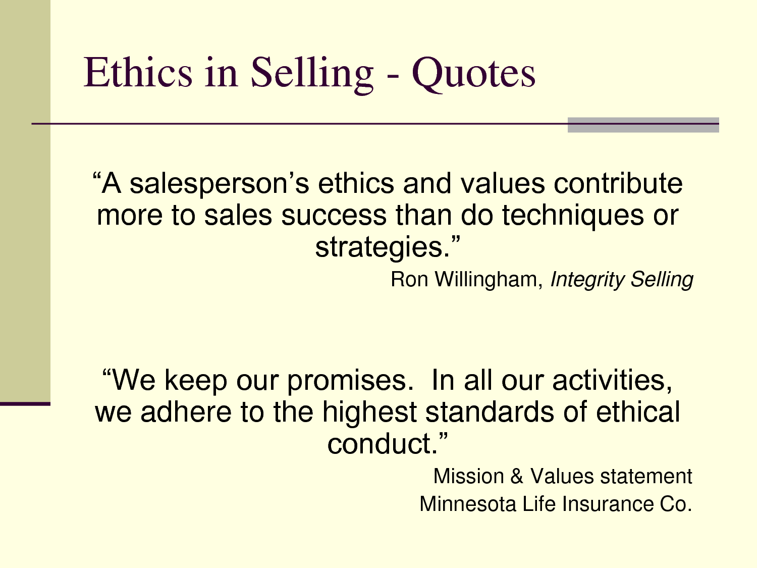 Selling quote #1